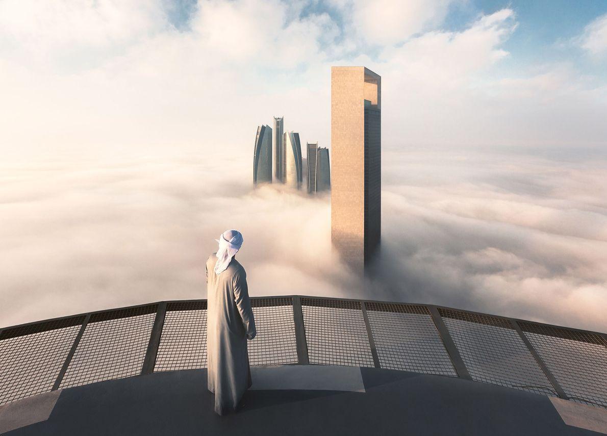 "The Etihad Towers pierce through a sea of clouds, creating a dreamlike vista. ""I chose to ..."