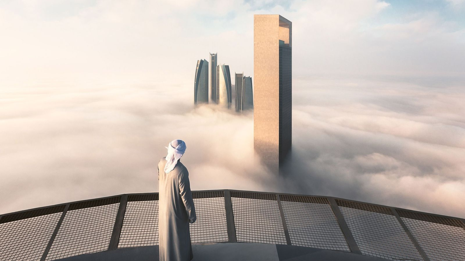 "The Etihad Towers pierce through a sea of clouds, creating a dreamlike vista. ""I chose to ..."