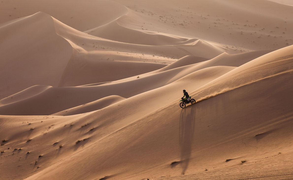 Abu Dhabi's rolling hills and sandy valleys are a perfect location for dune bashing, and several ...