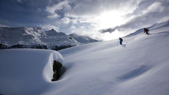 Skiing slopes.