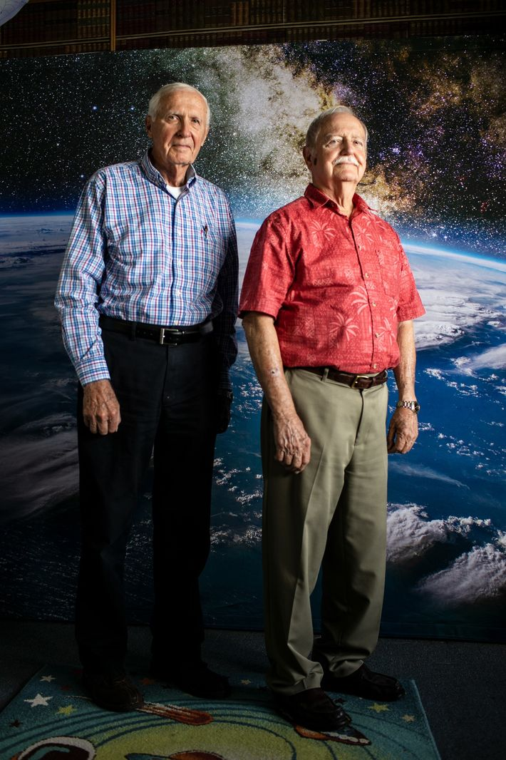 """Lee Solid, the legendary """"rocket engine guy"""" who helped build the Saturn V rocket, stands with ..."""