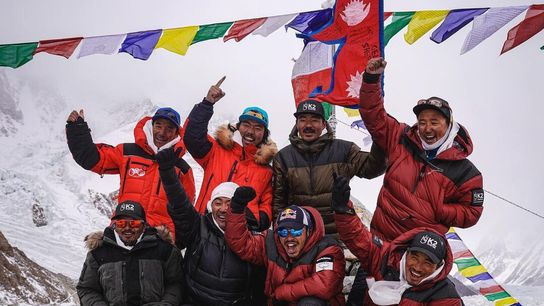 Nirmal Purja and a team of Nepali climbers celebrate after summiting K2 on January 16, 2021. ...