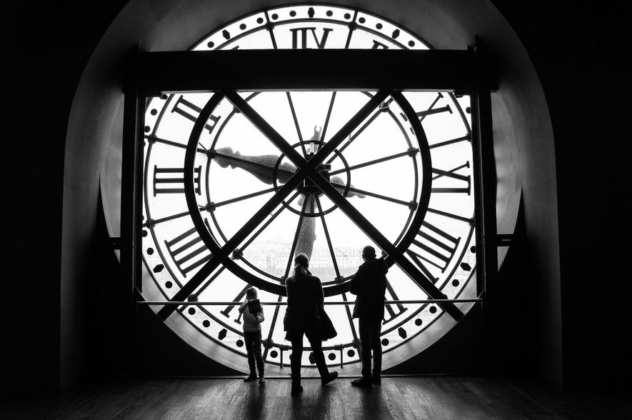 A family visits the Musée d'Orsay, housed in the former Gare d'Orsay—a Beaux-Arts railway station built ...