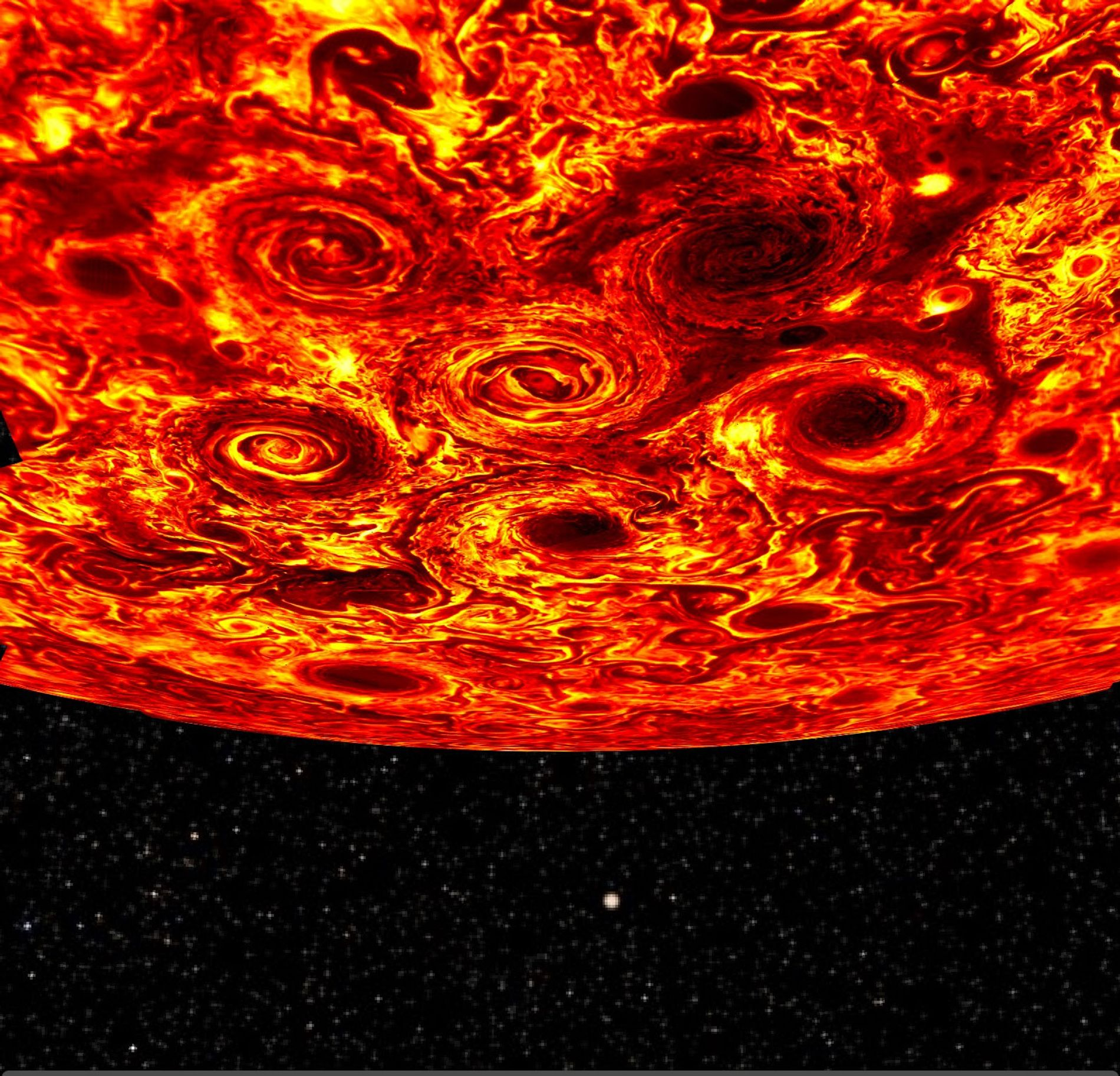 Cyclones swirl around each other in a new infrared mosaic of Jupiter's south pole created by NASA's Juno spacecraft.