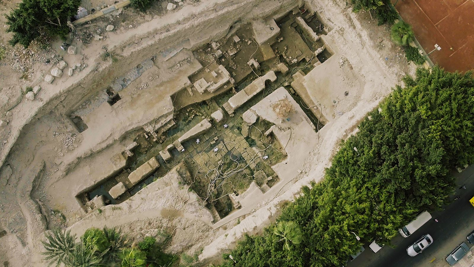 Buried and forgotten for centuries, the foundation walls of a monumental building dating to the era ...