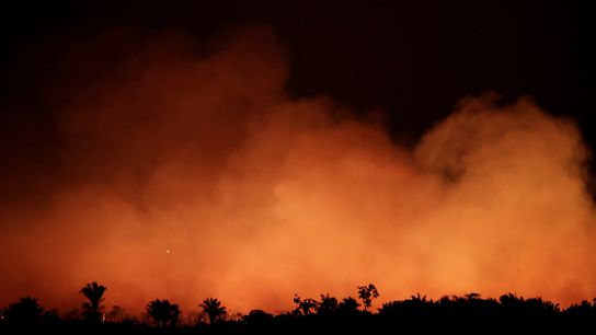 Smoke billows during a fire in an area of the Amazon rainforest near Humaita, Amazonas State, ...