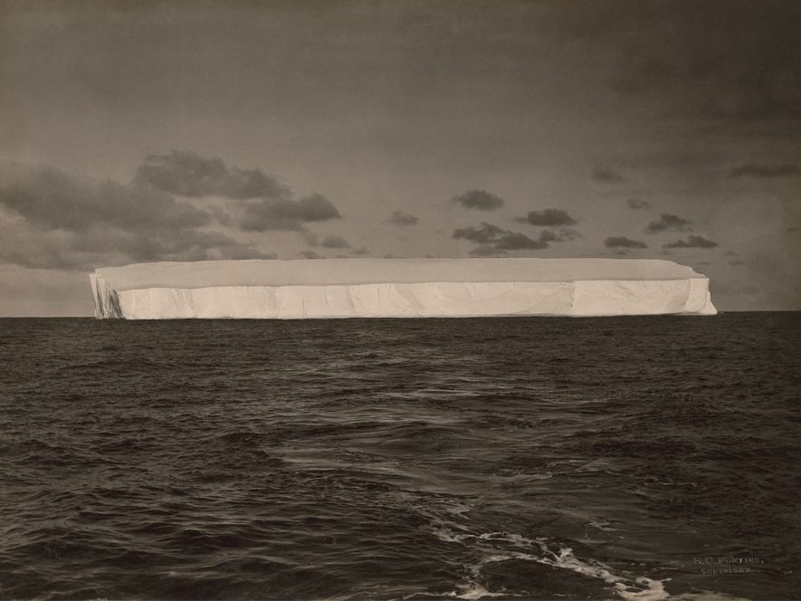 Distant shot of a large iceberg, Antarctica.