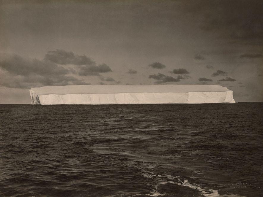 Distant shot of a large iceberg, Antarctica.