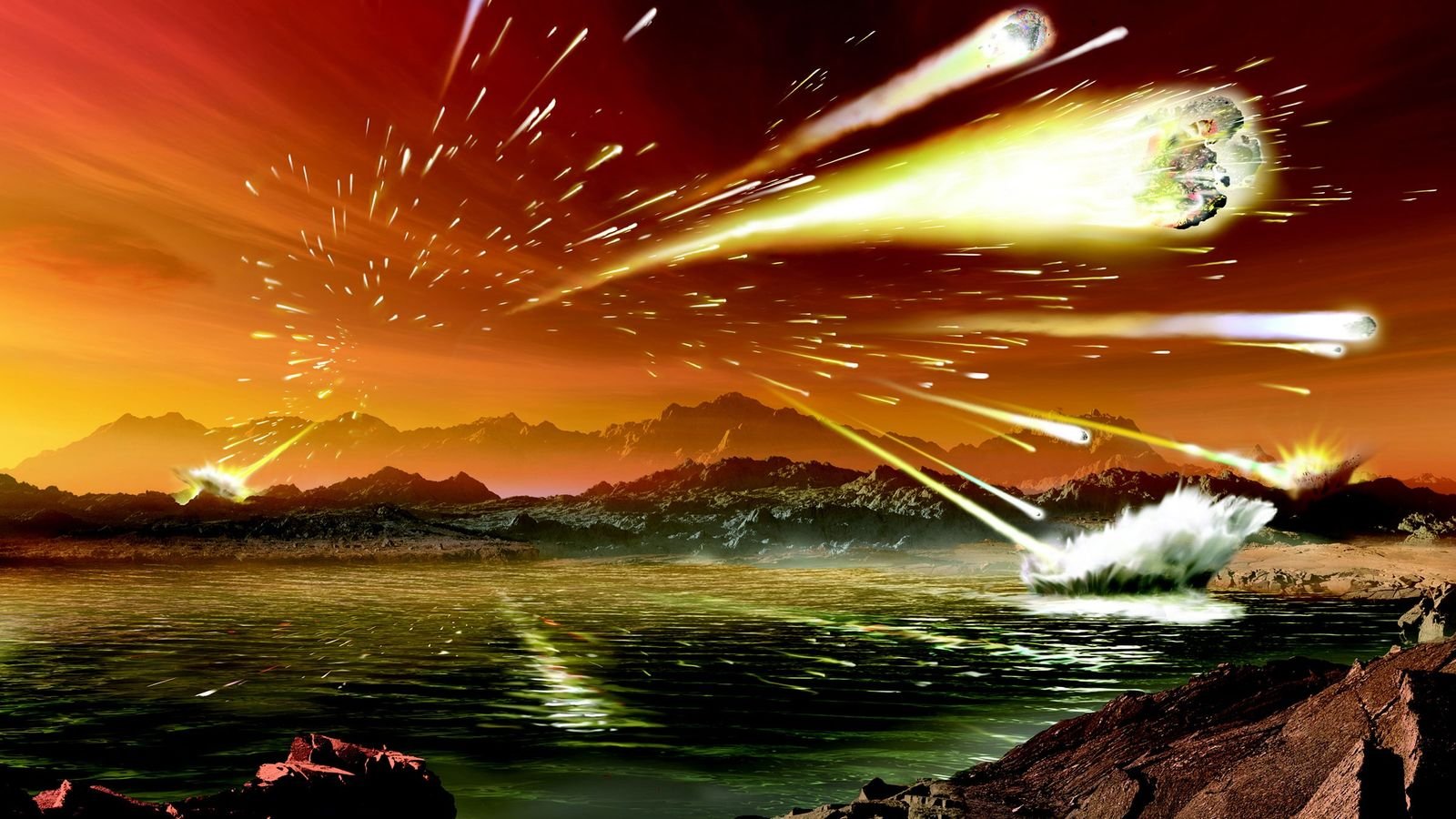 An illustration shows what Earth may have looked like 3.8 to 4 billion yerars ago, during ...