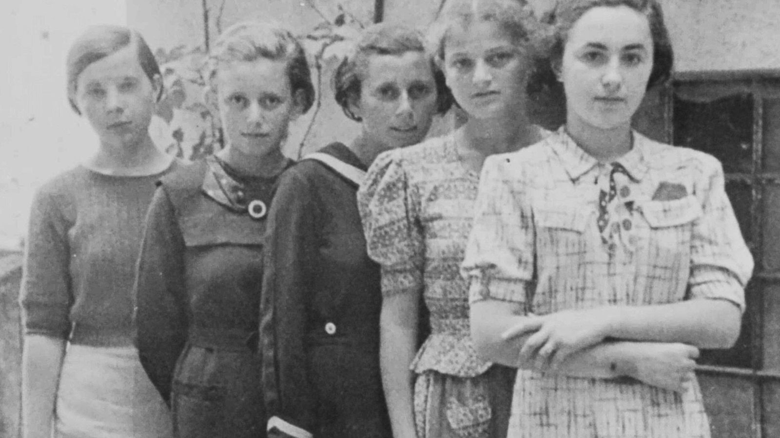 Two of the five girls in this photograph—taken in Humenné, Slovakia, around 1936—are known to have ...