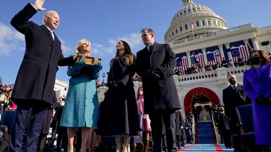 """Joseph R. Biden takes the oath to become the 46th president of the United States. """"The ..."""