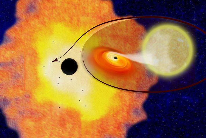 A rendering showing Sgr A* surrounded by a cloud of dust and gas within which are ...