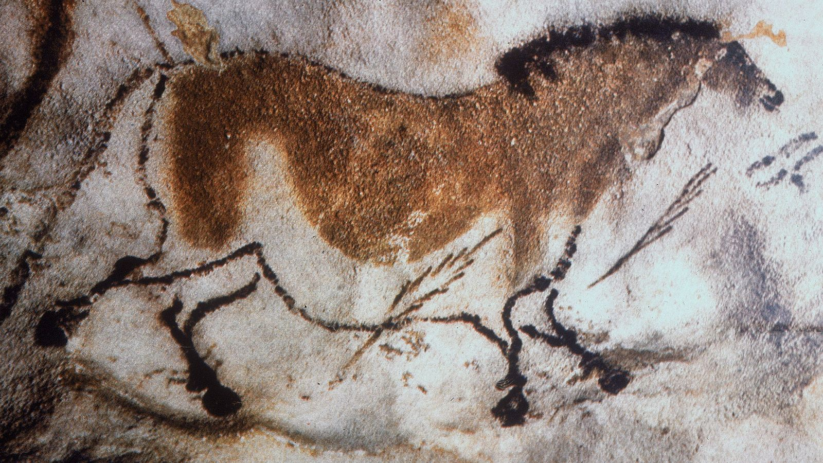 A horse and arrows found painted on the ceiling of Lascaux Cave in Dordogna, France.