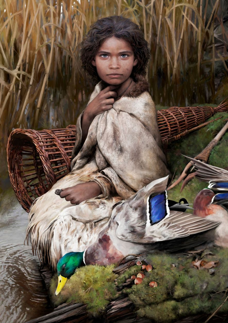An artist's reconstruction of 'Lola,' who lived on an island in the Baltic Sea 5,700 years ...
