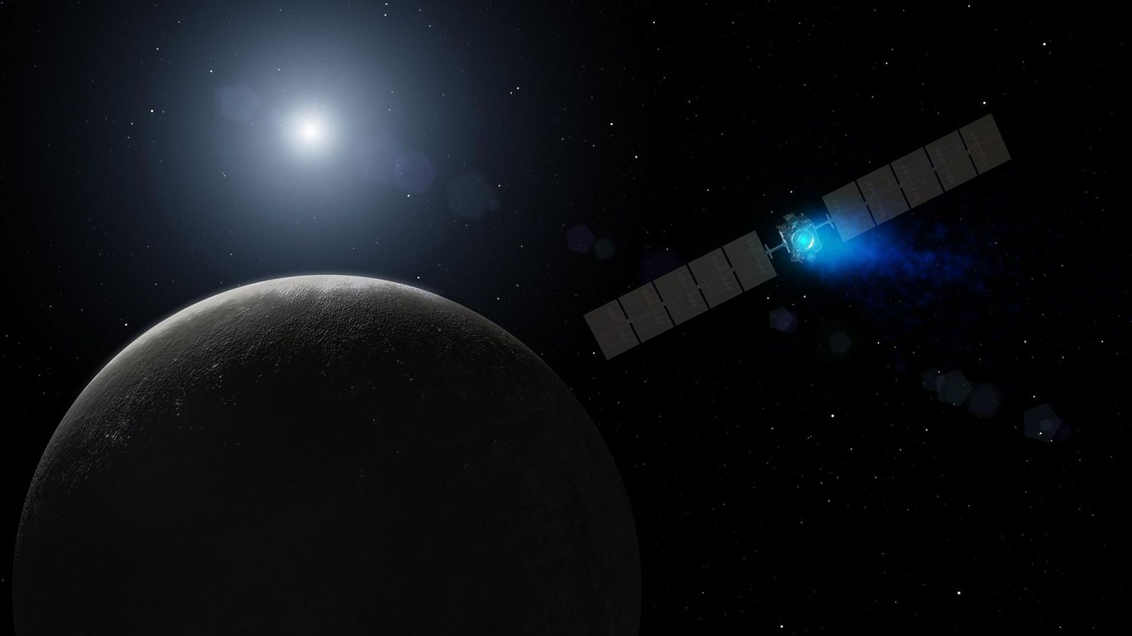 NASA's Dawn spacecraft arrives at the dwarf planet Ceres in an illustration.