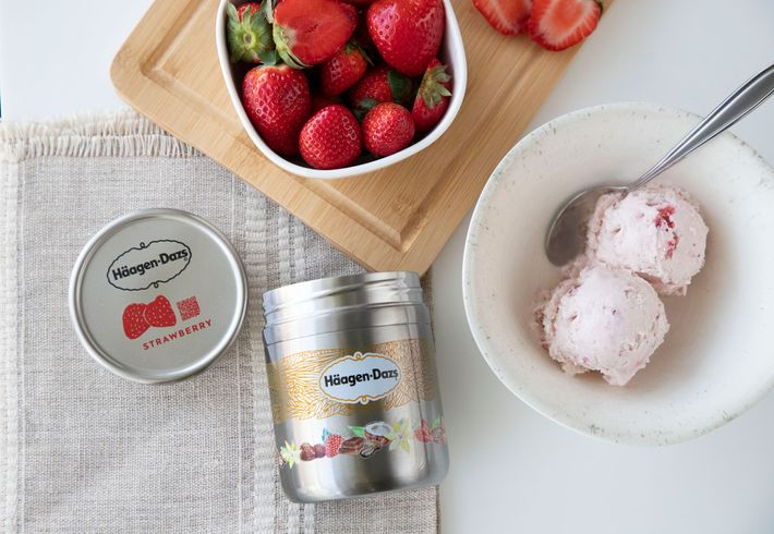 This refillable steel Häagen Dazs ice cream container is from Loop, a company that packages everyday ...