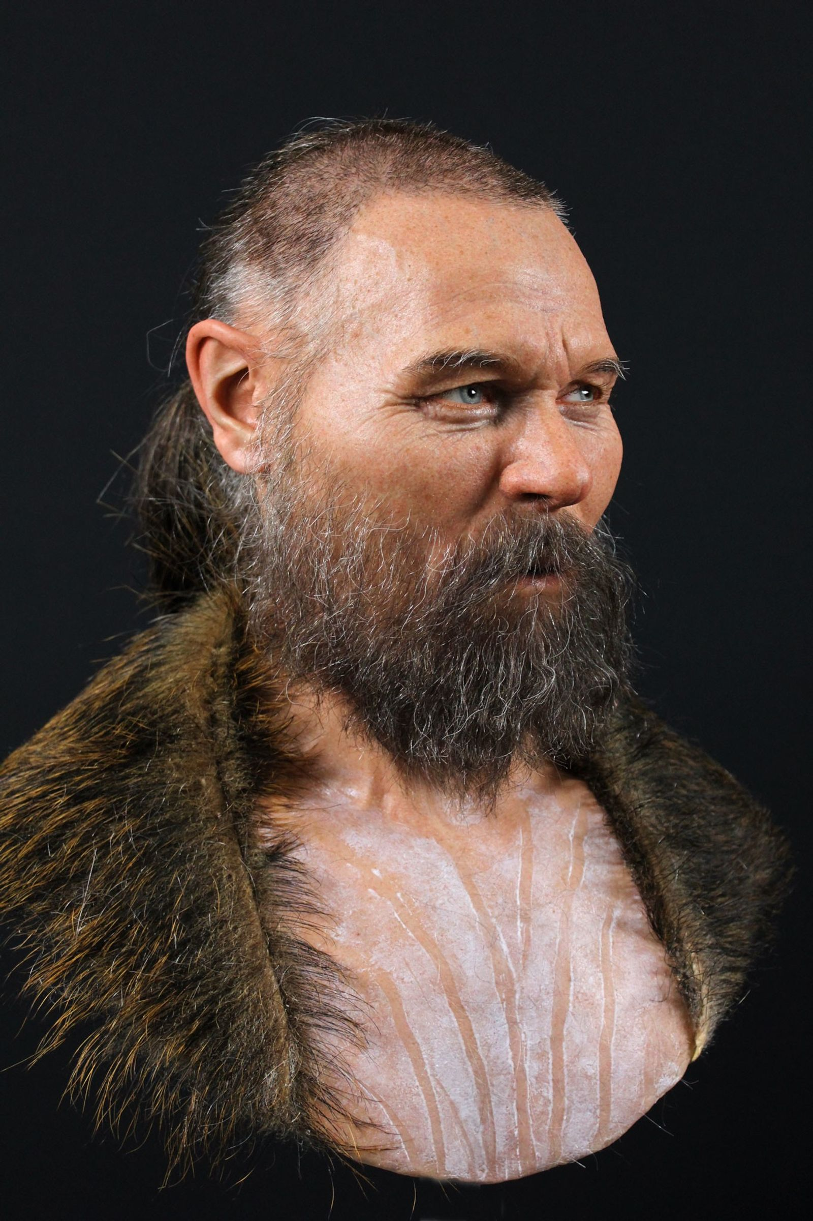 The partial skull used to reconstruct the face of this man was discovered with other human ...