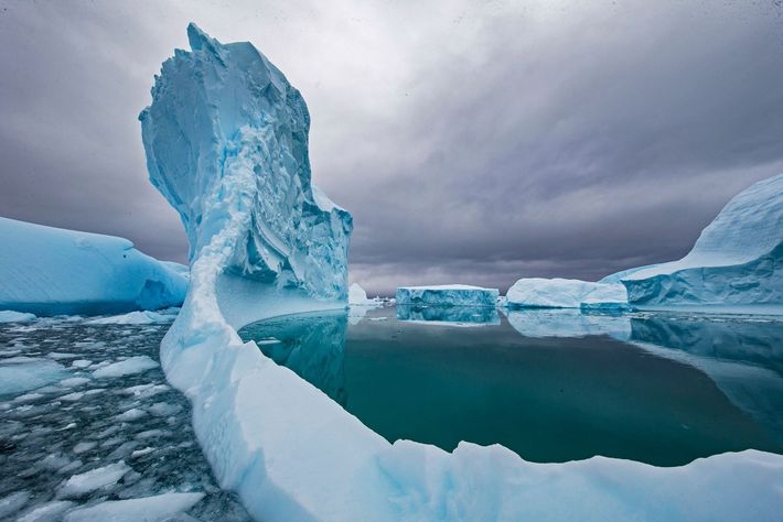 An iceberg melts in the waters off Antarctica. Climate change has accelerated the rate of ice ...