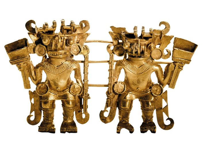 Golden twins embody the delicacy and skill of Tairona craftsmanship. The warrior figurines are made of ...
