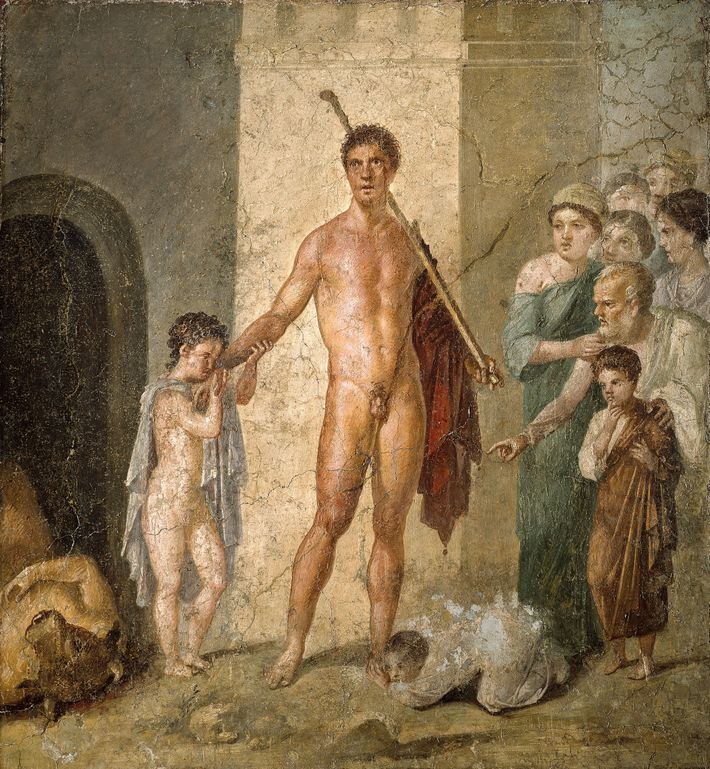 In a fresco from Pompeii, one of the young Athenians who has been released shows his ...