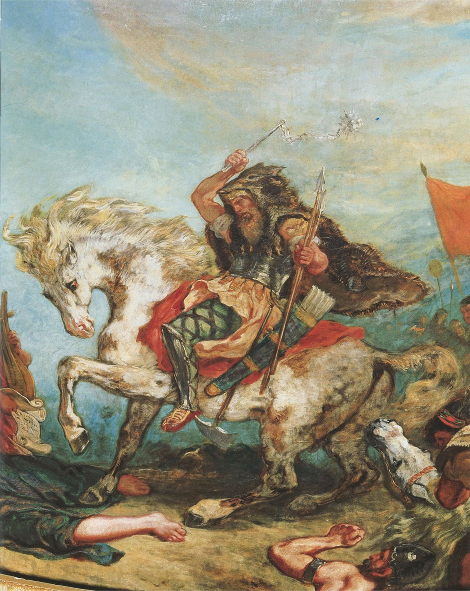 Attila the Hun and his horde attack while on horseback in a painting by French artist ...