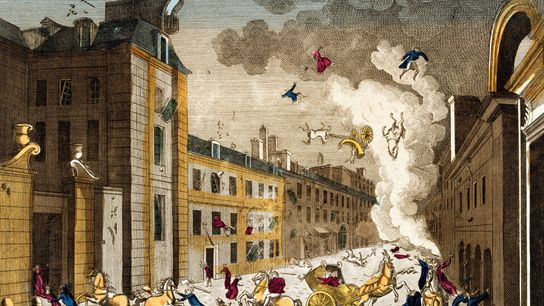 """Chaos ensued after the """"infernal machine"""" exploded on December 24, 1800, as shown in an engraving ..."""