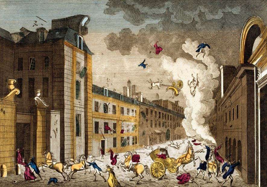 "Chaos ensued after the ""infernal machine"" exploded on December 24, 1800, as shown in an engraving ..."