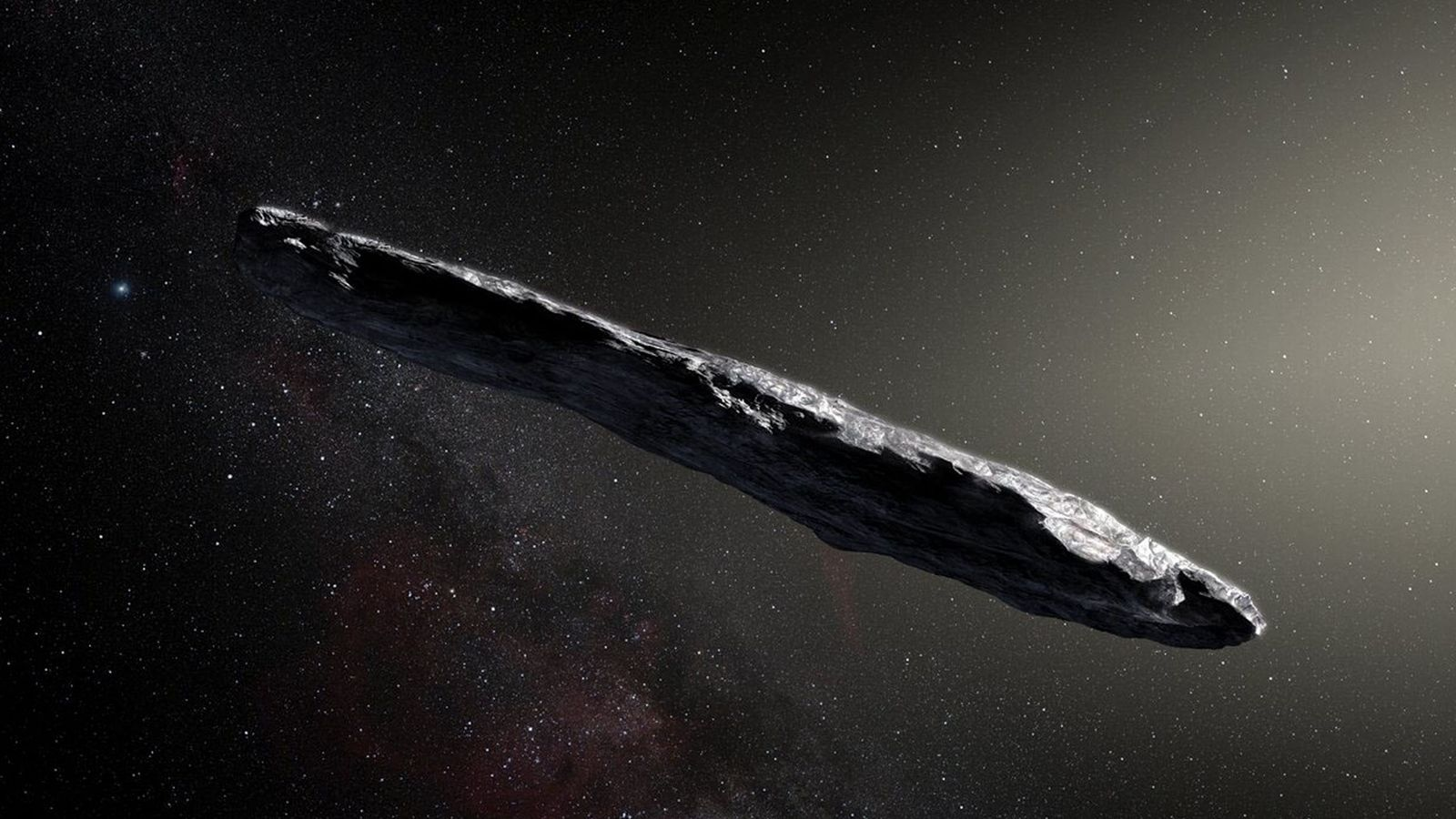 Artist's concept of interstellar asteroid 1I/2017 U1 ('Oumuamua) as it passed through the solar system after ...