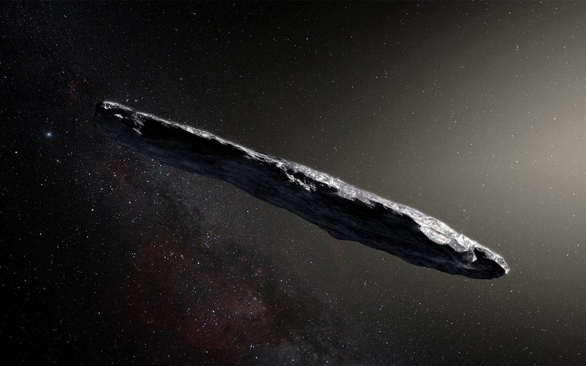 Artist's concept of interstellar asteroid 1I/2017 U1 ('Oumuamua) as it passed through the solar system after its discovery in October 2017.
