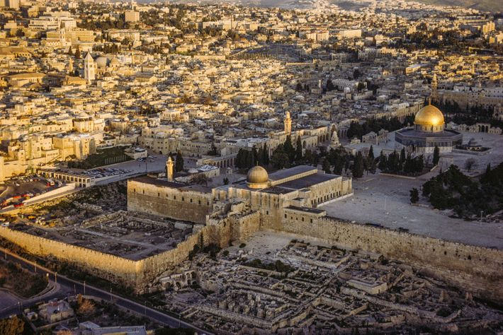 A view of the Temple Mount/Haram al-Sharif in Jerusalem. The seal was discovered in the Ophel, ...