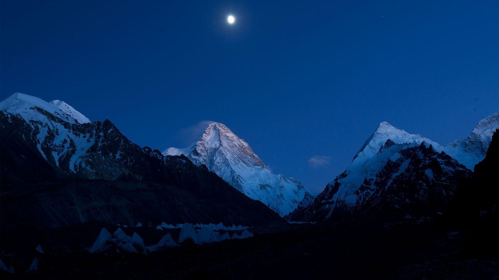 A full moon illuminates K2.