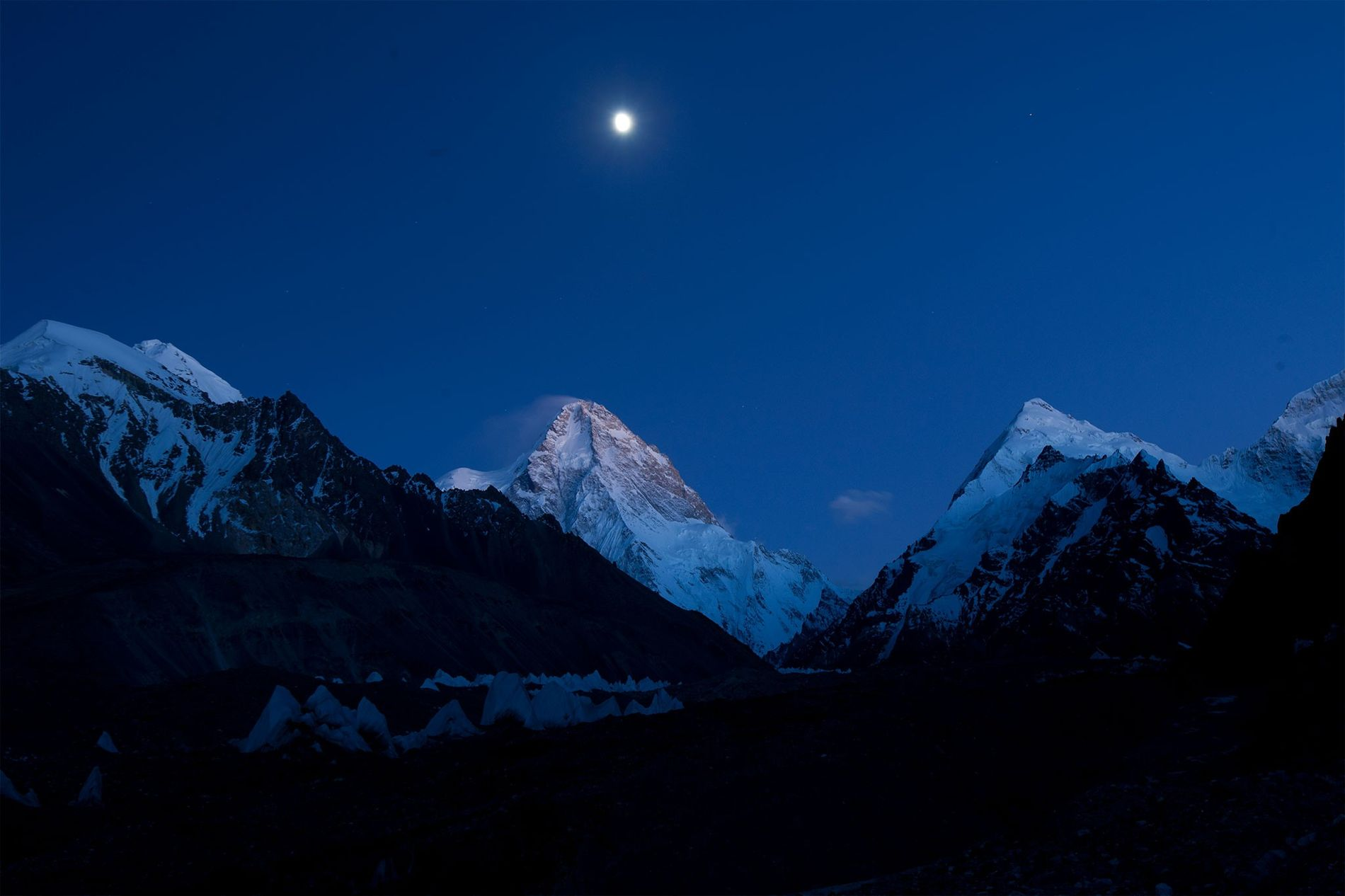 A full moon illuminates K2.