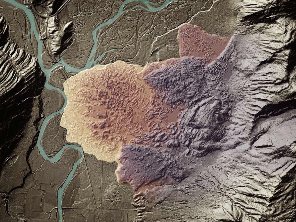 A landslide covered with vegetation on Lummi Island near Bellingham, Washington is revealed with LIDAR.