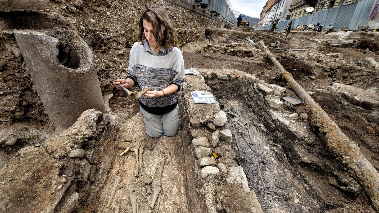 Excavations beneath Gosposvetska Street in downtown Ljubljana revealed remains of the Roman settlement of Emona, which ...