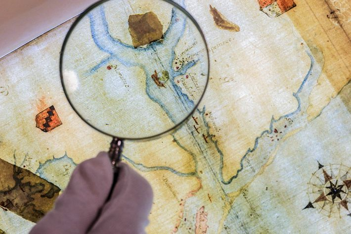 A map drawn by the colony's governor includes a patch covering the symbol of a fort ...