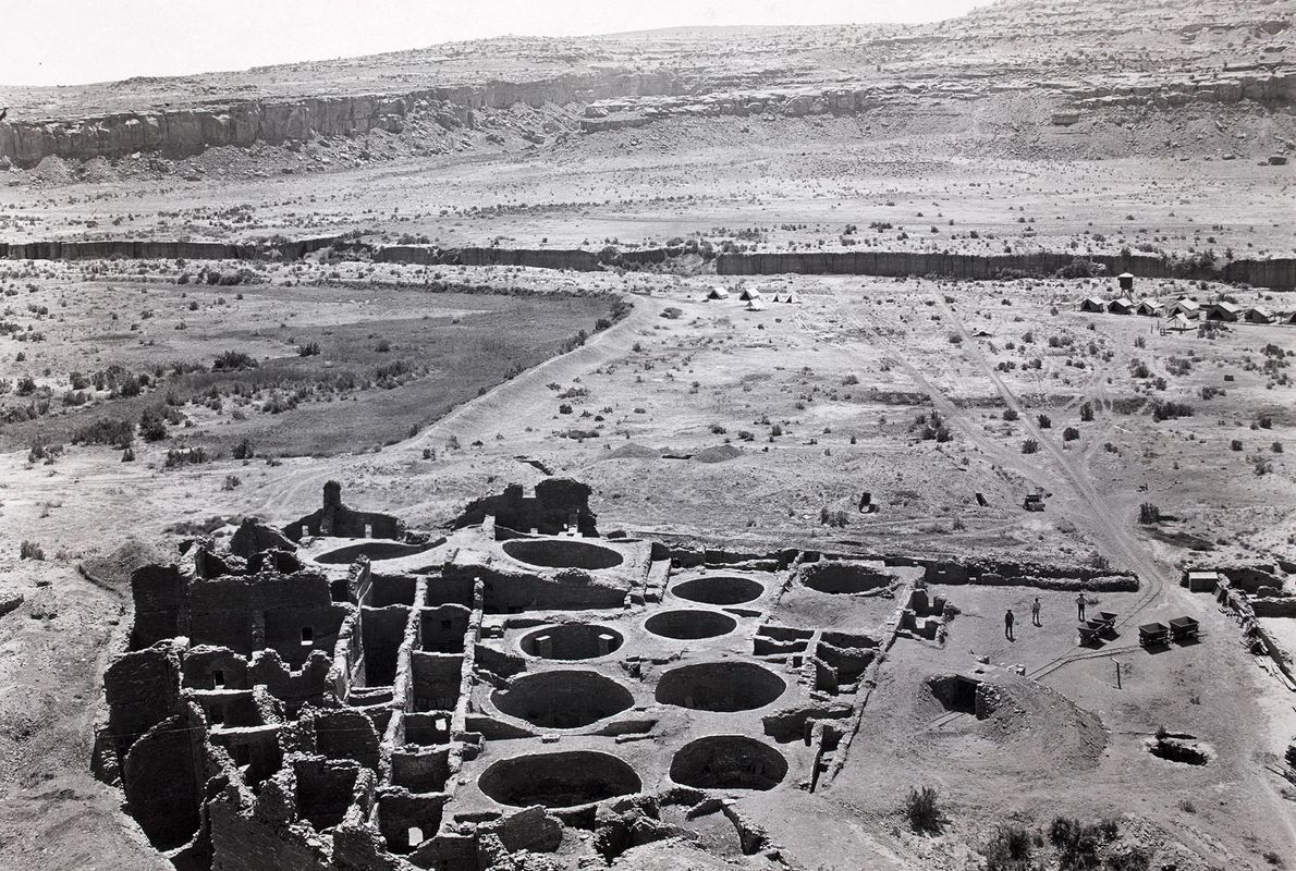 The excavated southeast section of Pueblo Bonito.