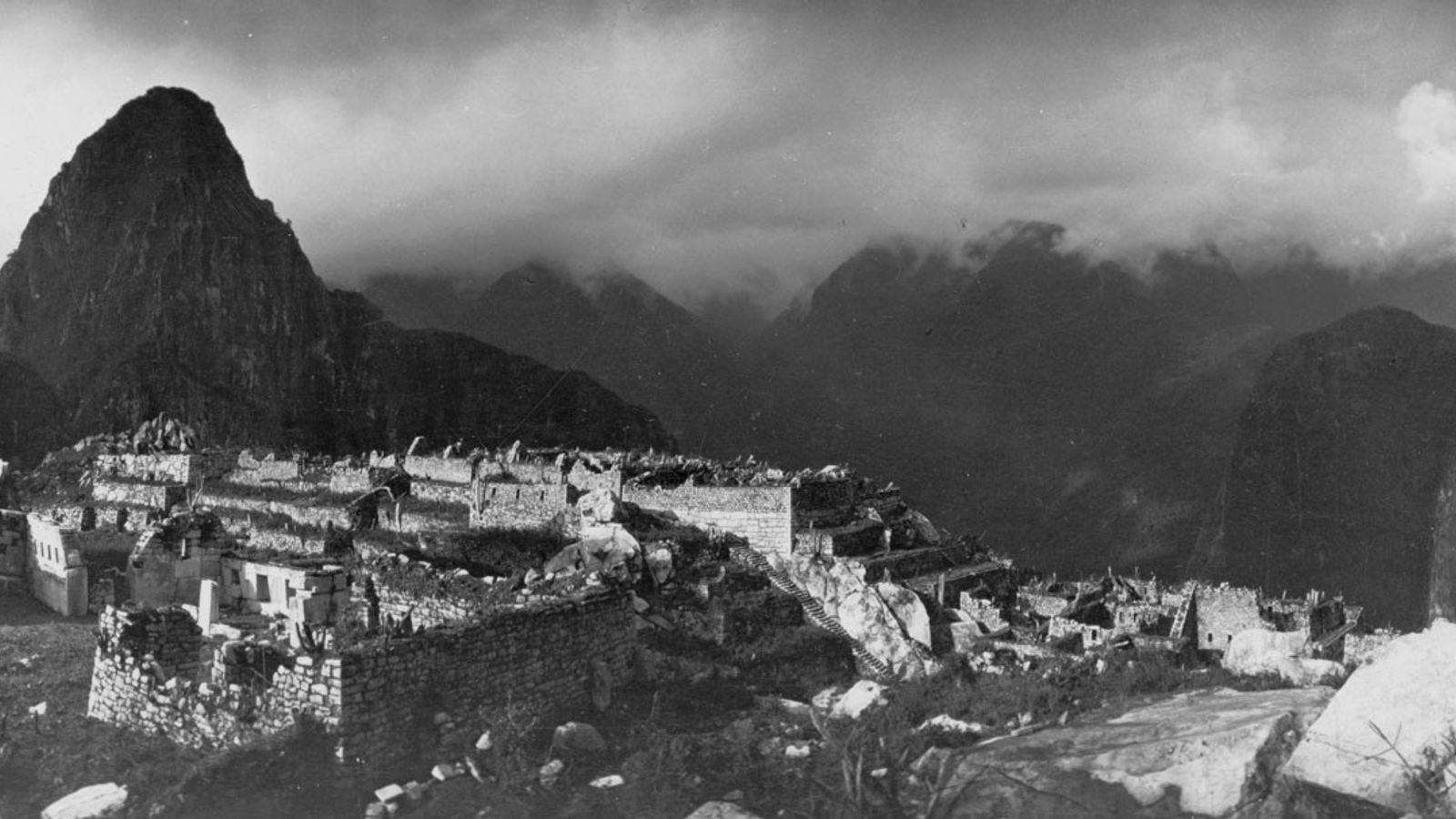A panoramic view of Machu Picchu from an elevated distance.