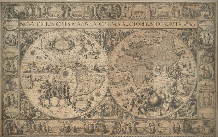 Decorative cartouches fill much of the Southern Ocean and the interior of North American on Pieter ...