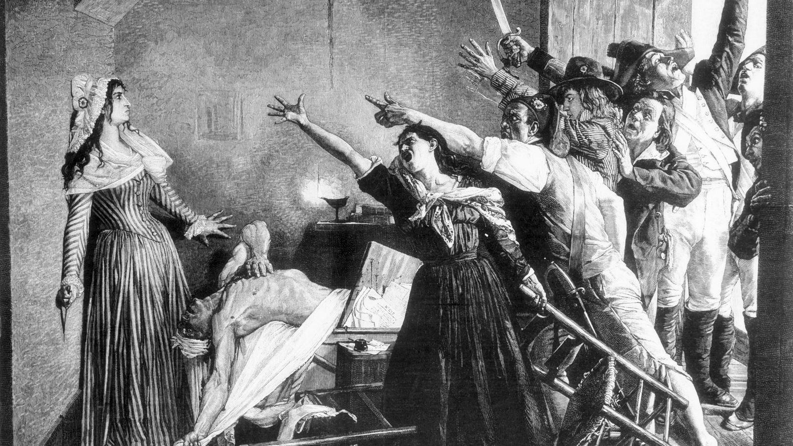 This 19th-century engraving depicts the moment after French revolutionary Jean-Paul Marat is assassinated in his bathtub ...
