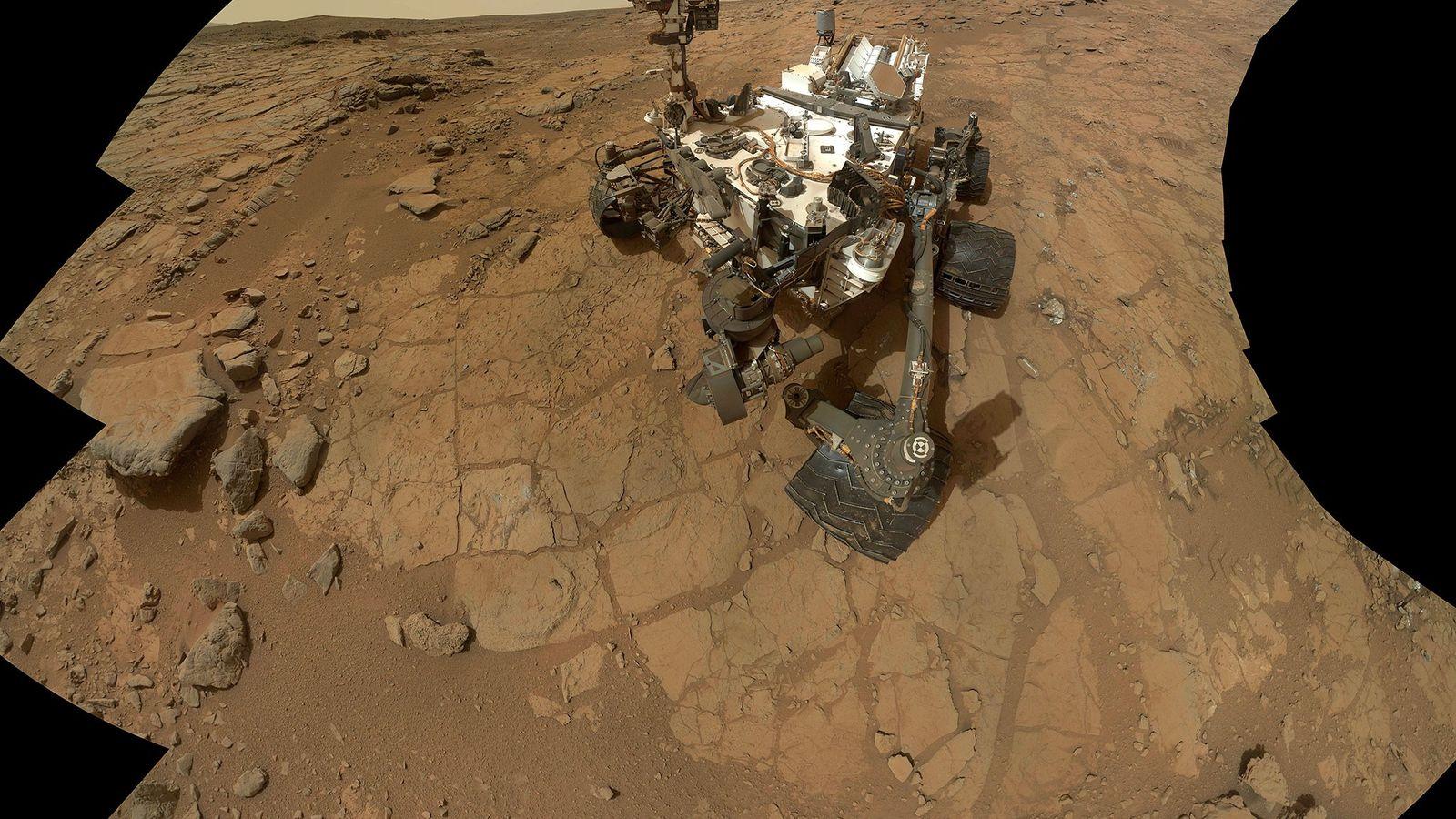 A self-portrait of the Mars rover Curiosity.