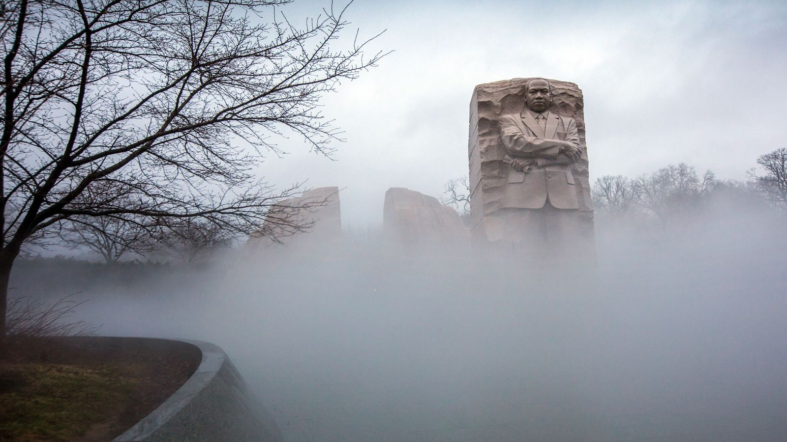 Fog shrouds the Martin Luther King Jr. Memorial in Washington, Friday, January 12, 2018. This year ...