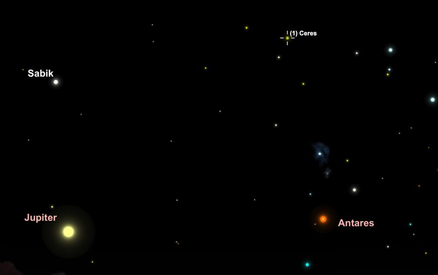 Look for the asteroid Ceres as it moves through the constellations Ophiuchus and Scorpius on May ...