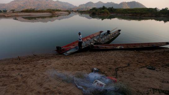 A fisherman on the banks of the Mekong River outside Nong Khai, Thailand, on January 10.