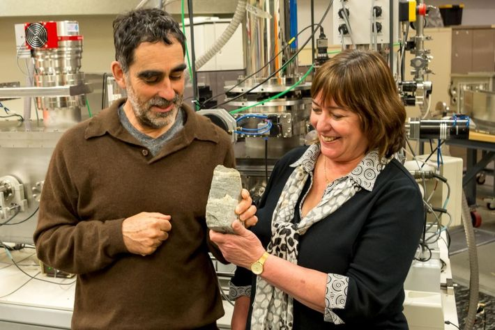 Scientists Allen Nutman and Vickie Bennett, authors of the 2016 study, examine the ancient fossils.