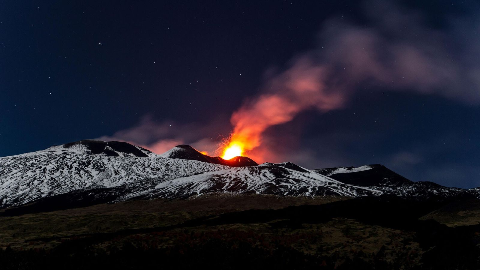 Lava bursts from Mount Etna in Sicily during a magnificent 2013 eruption.