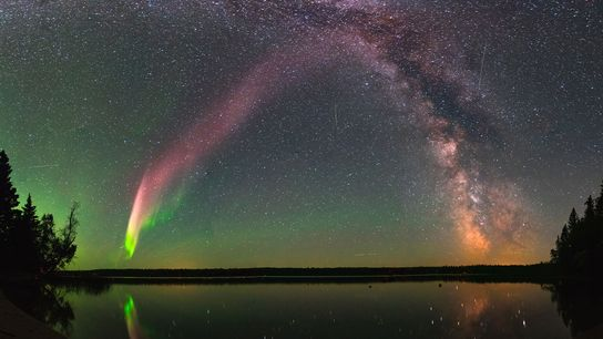 Steve seen with the Milky Way over Childs Lake, Manitoba.