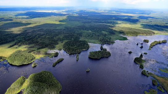 An aerial view of the Vologda River in Vologda Region, Russia. Russia is the top contender ...