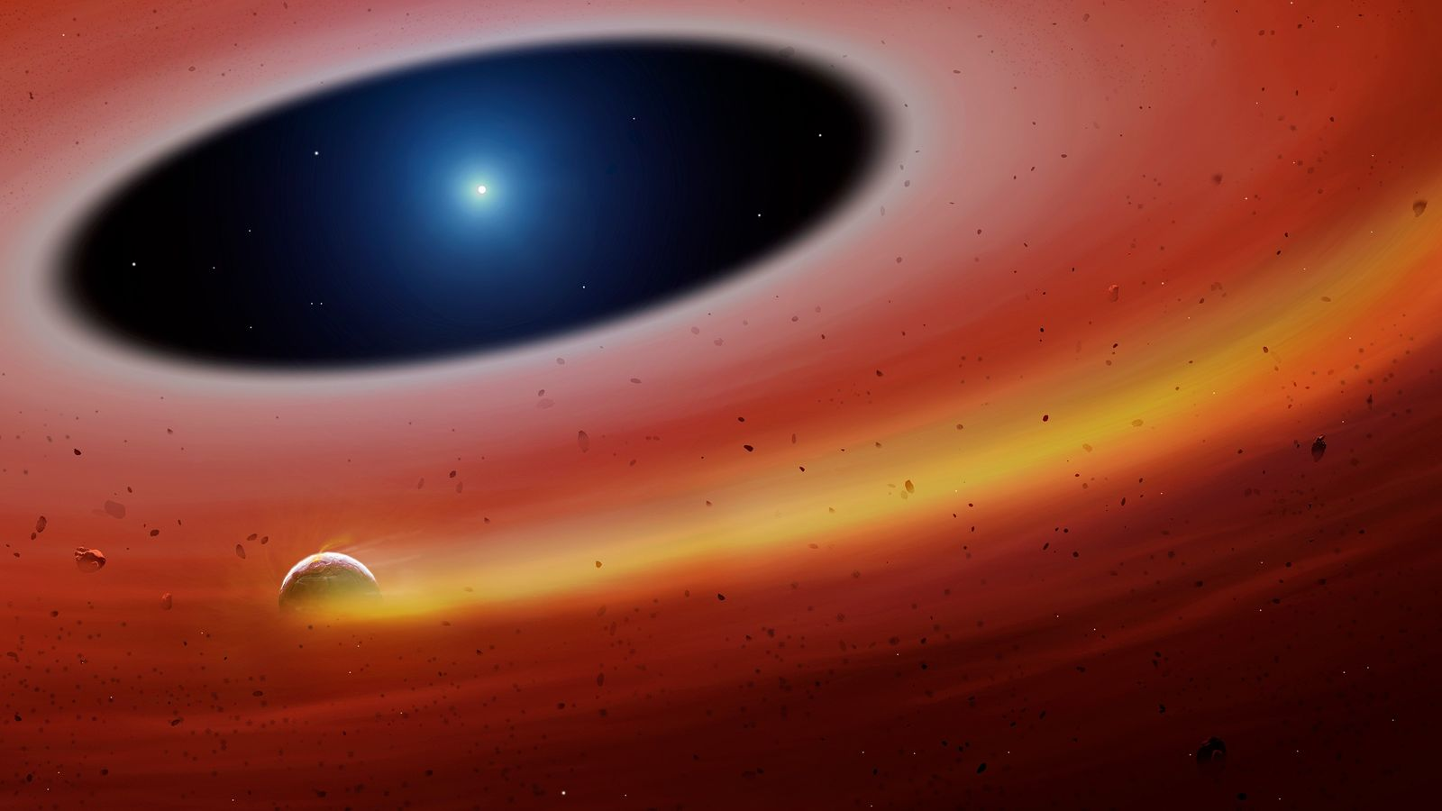 A planetary fragment orbits a white dwarf star in an illustration of the newfound system.