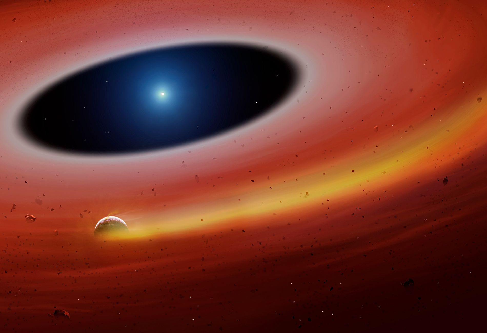 A planetary fragment orbits a white dwarf star in an illustration of the newfound system.  ...
