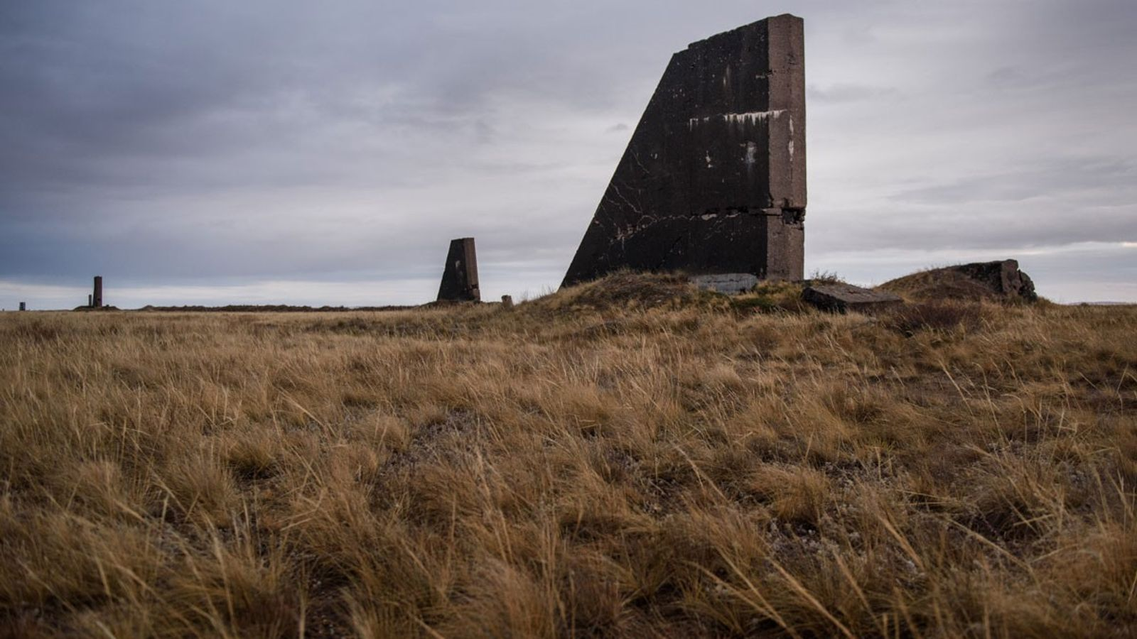Concrete structures are pictured approximately 650 feet away from the site of the first Soviet nuclear ...